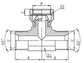 BSP Υδραυλικό σχέδιο Tee